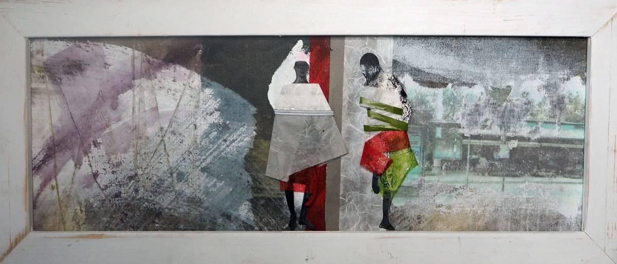 acryl auf leinwand - collage 30 x 70 cm