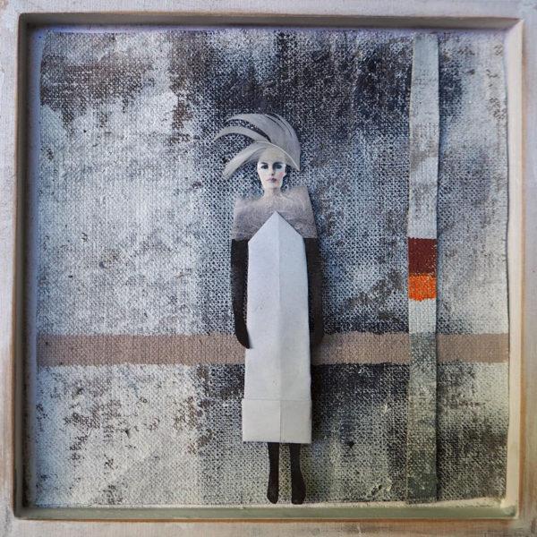 acryl auf leinwand - collage 60 x 55 cm