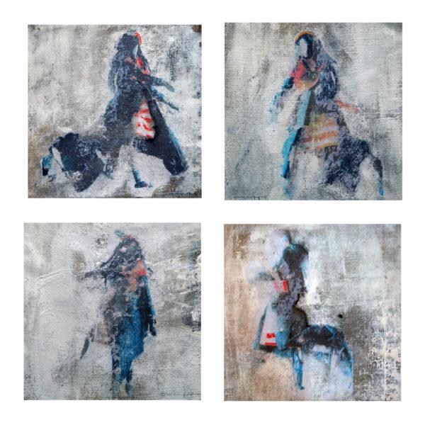 acryl auf leinwand, je 23 x 23 cm