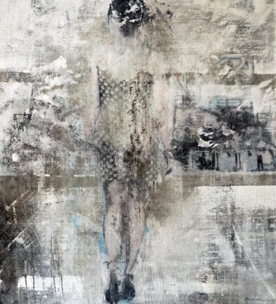 unterwegs in neapel - acryl auf leinwand 55 x 50 cm