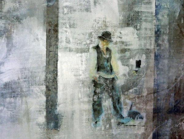 mann mit katze - acryl auf leinwand 60 x 65 cm