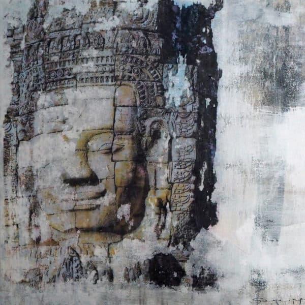lächelndes gesicht im bayontempel angkor wat - acryl auf leinwand 30 x 30 cm