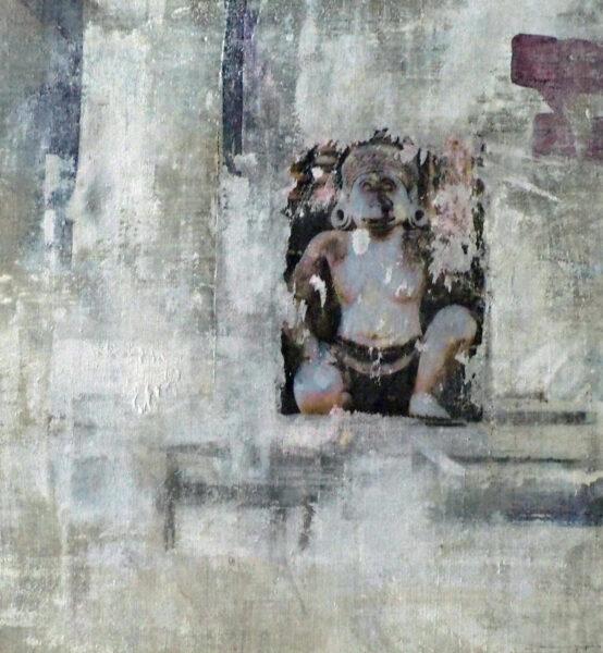 affe im banteay tempel, angkor wat, kambodscha - acryl auf leinen - 60 x 70 cm