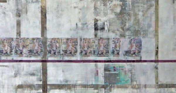 affen im banteay tempel angkor wat - acryl auf leinwand 90 x 170 cm